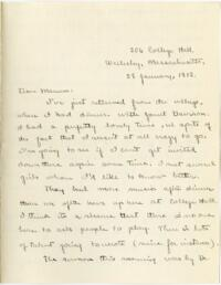 Letter from Mary Rosa, Wellesley, Massachusetts, to her mother, 1912 January 28