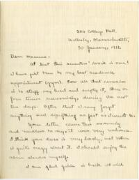 Letter from Mary Rosa, Wellesley, Massachusetts, to her mother, 1912 January 30