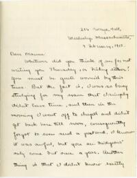 Letter from Mary Rosa, Wellesley, Massachusetts, to her mother, 1912 February 4