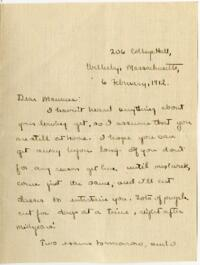 Letter from Mary Rosa, Wellesley, Massachusetts, to her mother, 1912 February 6