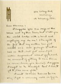 Letter from Mary Rosa, Wellesley, Massachusetts, to her mother, 1912 February 29