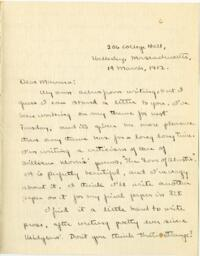 Letter from Mary Rosa, Wellesley, Massachusetts, to her mother, 1912 March 19