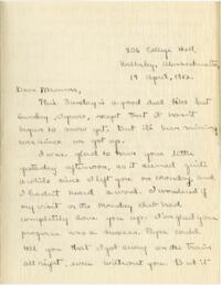Letter from Mary Rosa, Wellesley, Massachusetts, to her mother, 1912 April 14