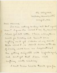 Letter from Mary Rosa, Wellesley, Massachusetts, to her mother, 1912 April 21