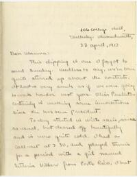 Letter from Mary Rosa, Wellesley, Massachusetts, to her mother, 1912 April 23