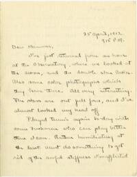 Letter from Mary Rosa, Wellesley, Massachusetts, to her mother, 1912 April  25