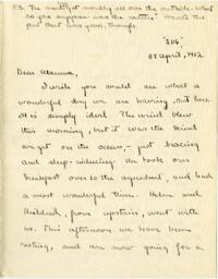 Letter from Mary Rosa, Wellesley, Massachusetts, to her mother, 1912 April 28