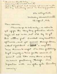 Letter from Mary Rosa, Wellesley, Massachusetts, to her mother, 1912 April 29
