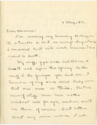 Letter from Mary Rosa, Wellesley, Massachusetts, to her mother, 1912 May 2