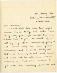 Letter from Mary Rosa, Wellesley, Massachusetts, to her mother, 1912 May 8
