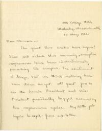 Letter from Mary Rosa, Wellesley, Massachusetts, to her mother, 1912 May 10