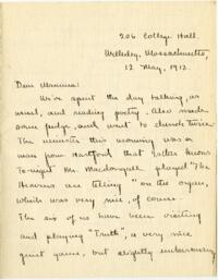 Letter from Mary Rosa, Wellesley, Massachusetts, to her mother, 1912 May 12