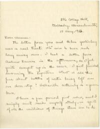 Letter from Mary Rosa, Wellesley, Massachusetts, to her mother, 1912 May 15