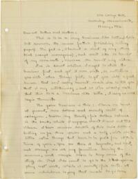 Letter from Mary Rosa, Wellesley, Massachusetts, to her parents, 1912 May 19
