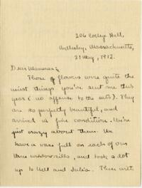 Letter from Mary Rosa, Wellesley, Massachusetts, to her mother, 1912 May 21