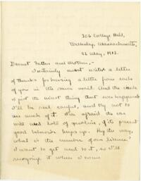 Letter from Mary Rosa, Wellesley, Massachusetts, to her parents, 1912 May 26