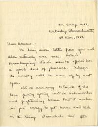 Letter from Mary Rosa, Wellesley, Massachusetts, to her mother, 1912 May 29