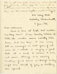 Letter from Mary Rosa, Wellesley, Massachusetts, to her mother, 1912 June 2