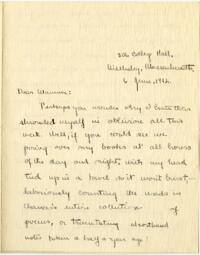 Letter from Mary Rosa, Wellesley, Massachusetts, to her mother, 1912 June 6