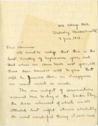 Letter from Mary Rosa, Wellesley, Massachusetts, to her mother, 1912 June 9