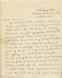 Letter from Mary Rosa, Wellesley, Massachusetts, to her mother, 1912 October 1
