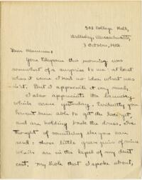 Letter from Mary Rosa, Wellesley, Massachusetts, to her mother, 1912 October 3