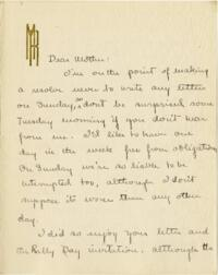 Letter from Mary Rosa, Wellesley, Massachusetts, to her mother, 1912 October 27