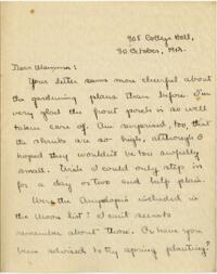 Letter from Mary Rosa, Wellesley, Massachusetts, to her mother, 1912 October 30