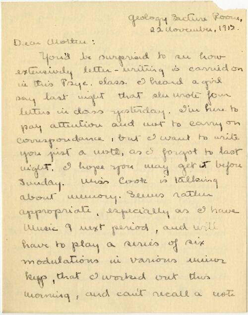Letter from Mary Rosa, Wellesley, Massachusetts, to her mother, 1912 November 22