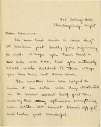 Letter from Mary Rosa, Wellesley, Massachusetts, to her mother, 1912 November 28