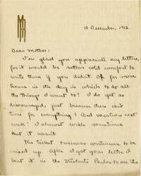 Letter from Mary Rosa, Wellesley, Massachusetts, to her mother, 1912 December 10