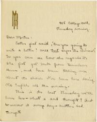 Letter from Mary Rosa, Wellesley, Massachusetts, to her mother, 1912 December 12
