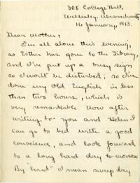 Letter from Mary Rosa, Wellesley, Massachusetts, to her mother, 1913 January 16