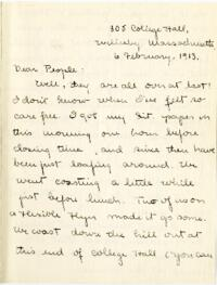 Letter from Mary Rosa, Wellesley, Massachusetts, to her parents, 1913 February 6