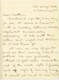 Letter from Mary Rosa, Wellesley, Massachusetts, to her mother, 1913 February 17