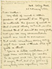 Letter from Mary Rosa, Wellesley, Massachusetts, to her mother, 1913 February 25