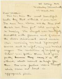 Letter from Mary Rosa, Wellesley, Massachusetts, to her mother, 1913 March 23