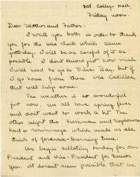 Letter from Mary Rosa, Wellesley, Massachusetts, to her parents, 1912 April 25