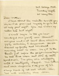 Letter from Mary Rosa, Wellesley, Massachusetts, to her mother, 1912 May 20