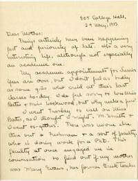 Letter from Mary Rosa, Wellesley, Massachusetts, to her mother, 1913 May 29