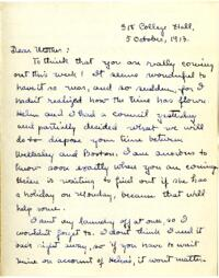 Letter from Mary Rosa, Wellesley, Massachusetts, to her mother, 1913 October 5