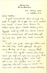 Letter from Mary Rosa, Wellesley, Massachusetts, to her mother, 1913 October 6
