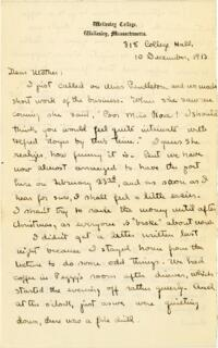 Letter from Mary Rosa, Wellesley, Massachusetts, to her mother, 1913 December 10
