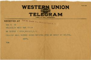 Telegram from Mary Rosa, Wellesley, Massachusetts, to her parents, 1914 March 17
