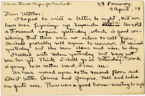 Card from Mary Rosa, Wellesley, Massachusetts, to her mother, 1914 April 9