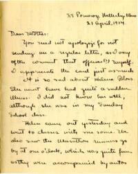 Letter from Mary Rosa, Wellesley, Massachusetts, to her mother, 1914 April 21