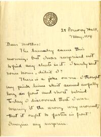 Letter from Mary Rosa, Wellesley, Massachusetts, to her mother, 1914 May 7