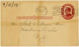 Letter From Eleanor Blair, Syracuse, New York, to Mr. Albert Whittemore Blair, Montour Falls, New York, 1913 September 15