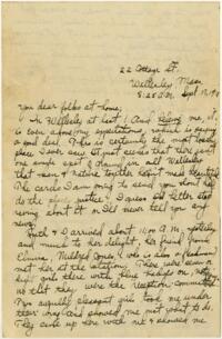 Letter from Eleanor Blair, Wellesley, Massachusetts, to Mrs. D.C. Blair, Montour Falls, New York, 1913 September 17