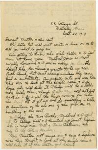 Letter From Eleanor Blair, Wellesley, Massachusetts, to Mrs. D.C. Blair, Montour Falls, New York, 1913 September 20